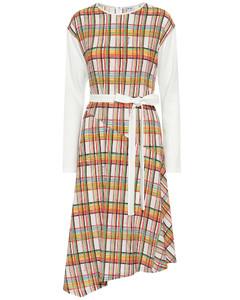 Checked wool midi dress
