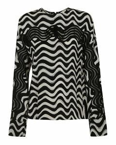 Stripe Wave Patterned Blouse