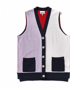 Colourblock sleeveless cardigan