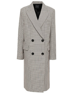 Woman Double-breasted Houndstooth Cotton And Wool-blend Coat