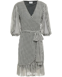 Woman Ruffle-trimmed Gingham Stretch-mesh Mini Wrap Dress