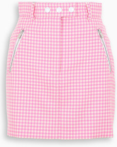 Pink/white houndstooth mini skirt