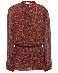 High-rise leather midi skirt
