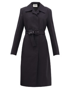 Belted technical-twill coat