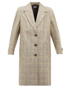 Prince of Wales-check virgin wool coat