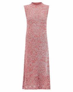 Crochet-hem knitted cotton-mouline dress