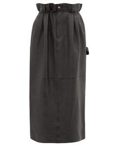 Paperbag-waist leather midi skirt
