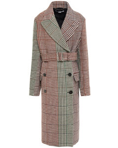 Woman Double-breasted Prince Of Wales Checked Wool Coat