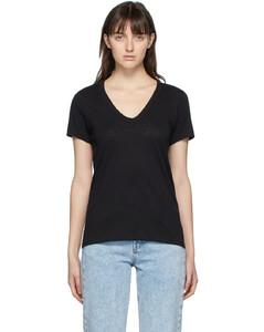黑色The Slub V领T恤