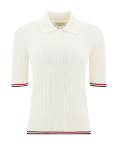 Cotton polo with striped details