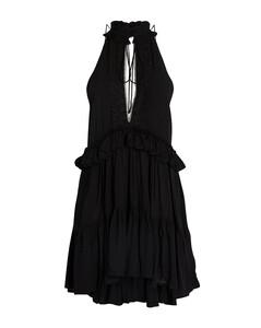 Black chain-embellished wool-blend top