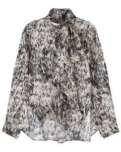 Clancy printed silk-twill blouse