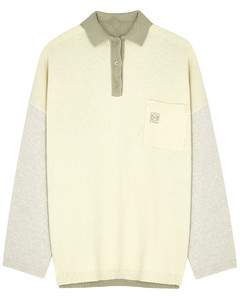 Panelled wool polo jumper
