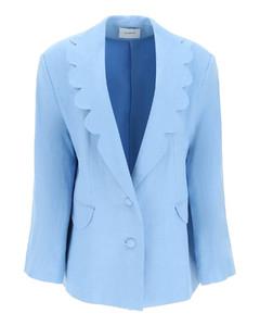 Turn-up cuff wool grain-de-poudre cropped trousers