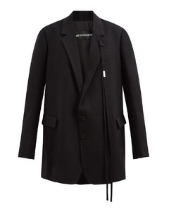 Ribbon-trimmed wool single-breasted jacket
