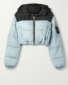 Cropped Quilted Padded Denim And Canvas Jacket