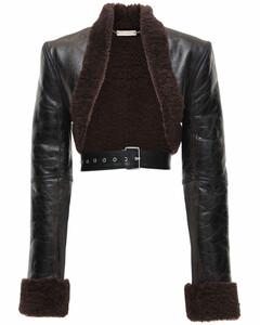 Shearling Bolero Jacket W/ Belt