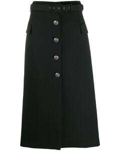 中長紋章紐扣半身裙