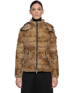 Bady Leopard Print Velvet Down Jacket