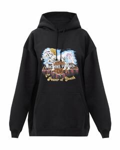 Unicorn-print band hooded sweatshirt