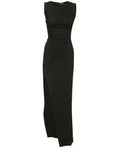 Ruched Stretch Viscose Blend Long Dress