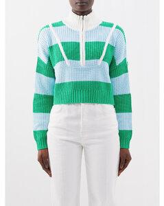 條紋棉質中長連衣裙