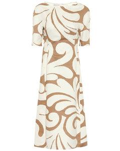 Printed cotton and linen midi dress