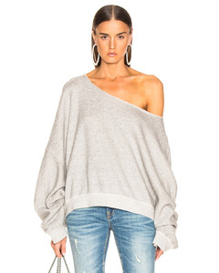 Off Shoulder Patti Sweatshirt in Grey