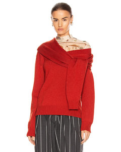 Tie Neck Cold Shoulder Sweater in Red