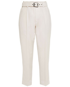 Woman Cropped Belted Wool Tapered Pants