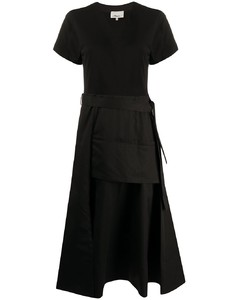 V-neck belted midi-dress