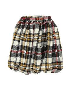 Checked wool miniskirt