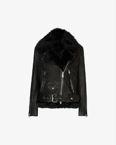 Luna 4-in-1 leather and shearling biker jacket