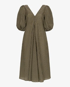 Checked puff sleeve dress