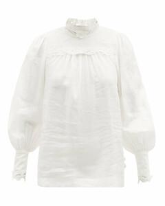 Luminous embroidered linen-gauze blouse