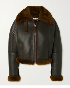 Shearling-trimmed Textured-leather Jacket