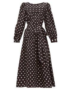 Belted polka-dot silk-satin midi dress