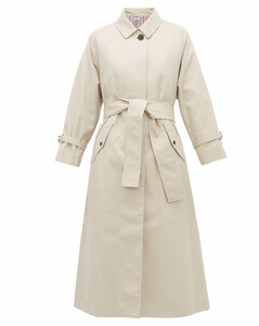 Belted twill trench coat