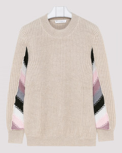 Striped detail knitted sweater