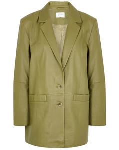 Naloa olive leather blazer