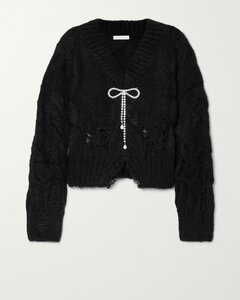Crystal-embellished Distressed Cable-knit Mohair-blend Sweater