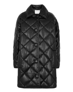 Jacey black quilted faux leather jacket