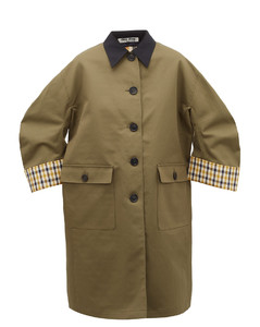 Single-breasted checked-lining cotton coat