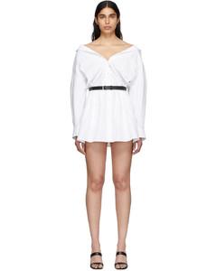 白色束腰衬衫连衣裙