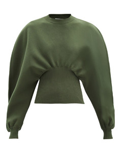 Gathered-waist wool-blend sweater