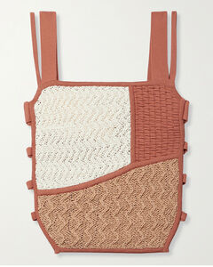 Ona Cutout Stretch-knit And Crocheted Cotton-blend Top
