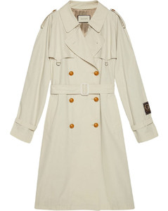 logo-patch trench coat