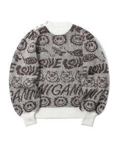 Intarsia knit panelled sweater