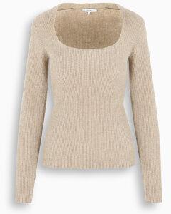 Beige cashmere crewneck sweater