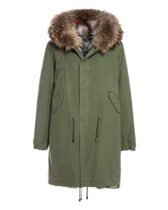 Exclusive Fw20 Icon Parka: Army Cotton Canvas Parka With Patch Fox Fur Lining
